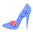 Year end sales text collage Composed in the shape of high heel — Stock Photo