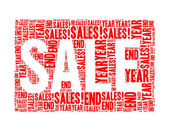 Year end sales text collage Composed in the shape of sale word — Stockfoto