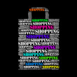 Shopping text collage Composed in the shape of shopping bag - Stock Photo