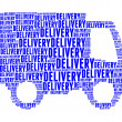 Stock Photo: Delivery text collage Composed in shape of lorry isolated