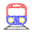 Stock Photo: Train text collage Composed in shape of trainisolated on
