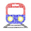 Train text collage Composed in the shape of trainan isolated on — Stock Photo