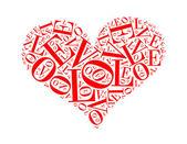 Láska textu koláž složená ve tvaru lásky ojedinělý na w — Stock fotografie