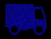 Delivery text collage Composed in the shape of lorry — Stock Photo