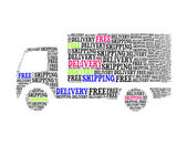 Free delivery shipping text collage Composed in the shape of lor — Stock Photo