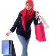 Beautiful muslim woman feel happy holding shopping bags. — Stock Photo