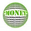 MONEY word globe collage on white background — Stok fotoğraf