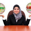 Showing muslim business woman with profit and loss word info glo — Stock Photo