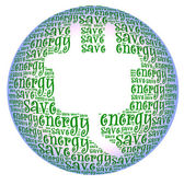 Save energy text on electrical power plug graphic and arrangemen — Stockfoto
