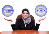 Showing muslim business woman with open hand palms for question — Stock Photo