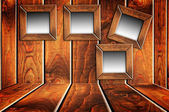 Wooden room with blank windows in grunge style — Foto Stock