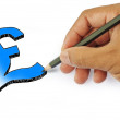 Stock Photo: Money icon by hand drawing on white back ground