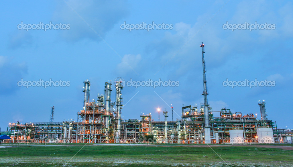 Structure of petrochemical plant in evening scene  - Maptaphut industrial , Eastern of Thailand , September 2012  Stock Photo #13894332
