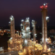 Lighting of Petrochemical factory in night Time - Stock Photo