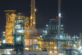 Refinery industrial factory in night time — Stock Photo