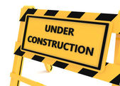 3D Under construction yellow sign — Foto Stock