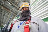 Man in petroleum plant — Stock Photo