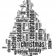 Stock Photo: Cristmas tree word cloud