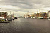 Dublin liffey river on Dublin Docklands festival — Stock Photo