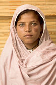 Portrait of Poor muslim woman with headscarf — Stock Photo