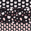 Cats and Paws Seamless Patterns — 图库矢量图片