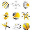 Stock Vector: Yellow business icons design