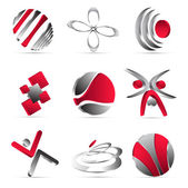 Red business icons design — Stock Vector