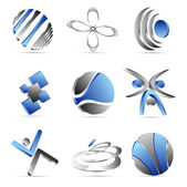 Blue business icons design — Stock Vector