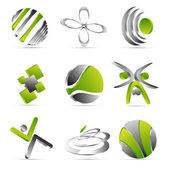 Green business icons design — Stock Vector