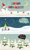 Set of Christmas banner — Stock Vector