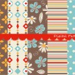 Digital patterns, scrapbook set - Stock Vector