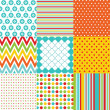 Seamless patterns with fabric texture — Vector de stock #24070989