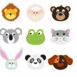 Animal Faces Set — Stock Vector