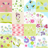 Floral Seamless Patterns — Stock Vector