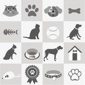 Evde beslenen hayvan Icons set — Stok Vektör