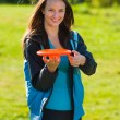 Stock Photo: Womand frisbee