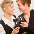 Stock Photo: Lesbians and red wine