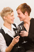 Lesbians and red wine — Stock Photo