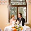 Stock Photo: Bride and groom toasting