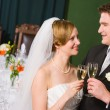 Toasting bride and groom — Stock Photo