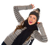 Woman and wooly outfit — Stock Photo