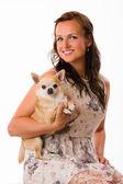 Woman and chihuahua — Stock Photo