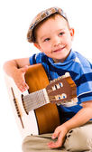 Boy and guitar — Stock Photo
