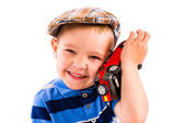 Boy and toy car — Stock Photo