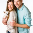 Couple and dog — Stock Photo