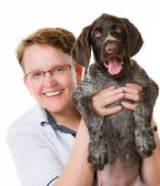 Puppy and woman — Stock Photo