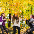 Sisters and autumn — Stock Photo