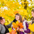 Stock Photo: Sisters and maple leaves
