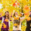 Sisters and maple leaves — Stock Photo #34633367