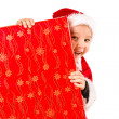 Boy and Christmas gift — Stock Photo